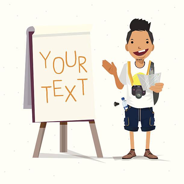 tourist guy vorlage-vektor-illustration mit paperboard - smileys zum kopieren stock-grafiken, -clipart, -cartoons und -symbole
