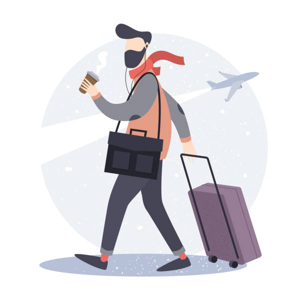 tourist. hipster man with a suitcase and a cup of coffee goes to the airport. - business travel stock illustrations, clip art, cartoons, & icons