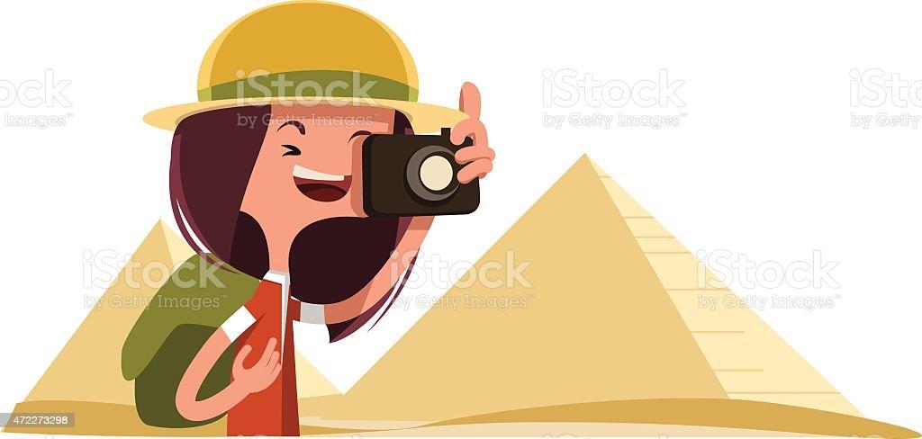 Tourist in Egypt taking photos vector illustration cartoon character vector art illustration