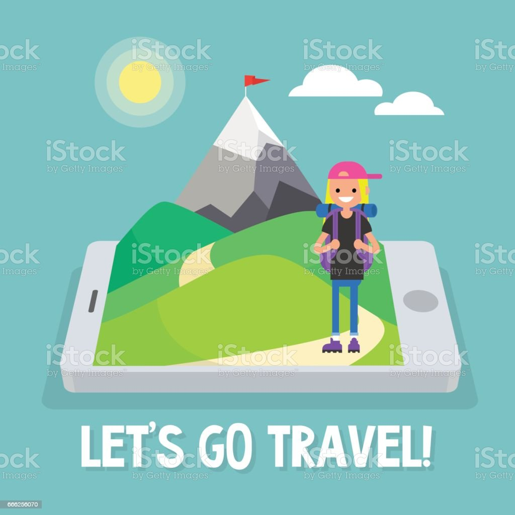 Tourist in mountains. Travel mobile application. Vector illustration, clip art