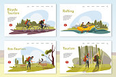 Tourist in wild nature vector webpages set