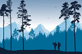 Tourist, man and woman with backpacks and a map looking for a trip in a mountain landscape with forest, trees and flying birds under the sky with clouds - vector