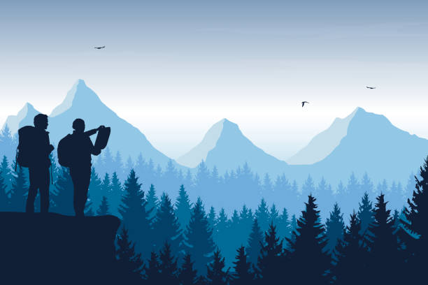 illustrazioni stock, clip art, cartoni animati e icone di tendenza di tourist, man and woman with backpacks and a map looking for a trip in a mountain landscape with forest, trees and flying birds under the sky with clouds - vector - trekking