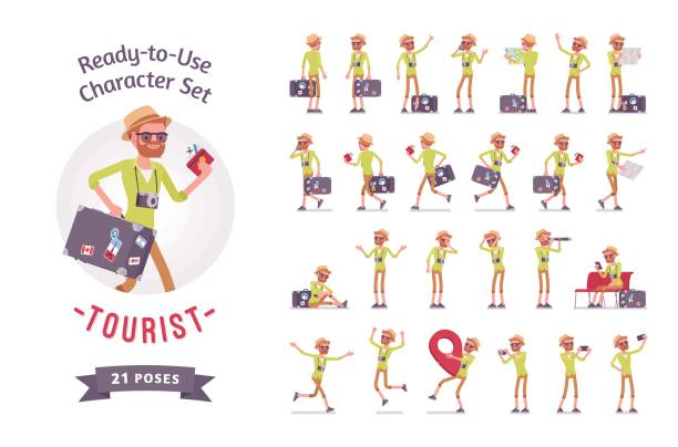 tourist man with luggage character set, various poses and emotions - tourist stock illustrations