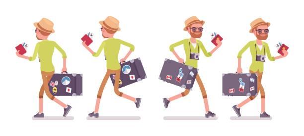 touristischen mann mit gepäck gehen und laufen - laufführer stock-grafiken, -clipart, -cartoons und -symbole