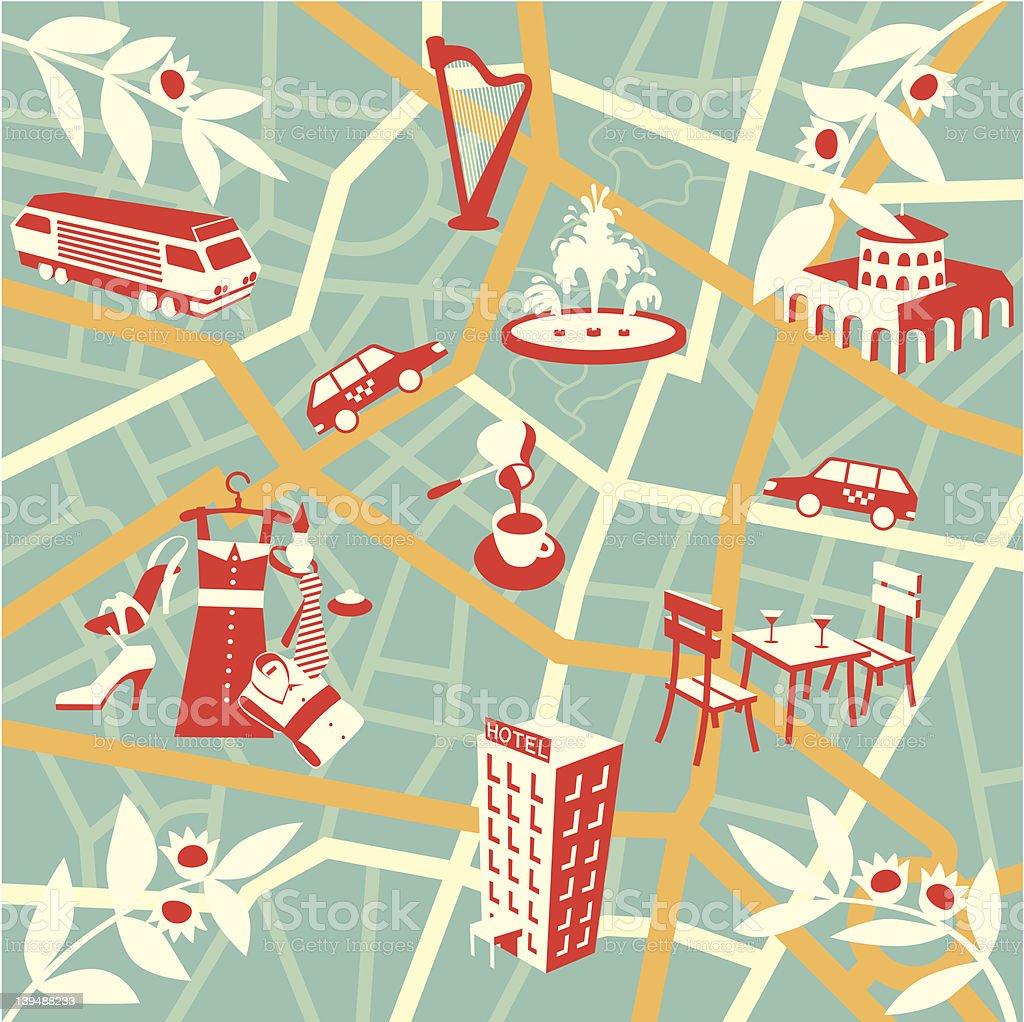Tourist map der Stadt – Vektorgrafik