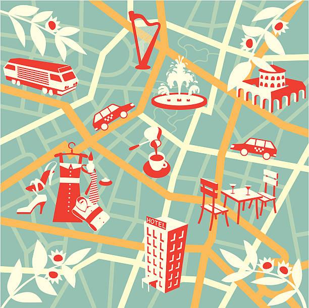 ilustraciones, imágenes clip art, dibujos animados e iconos de stock de turista mapa de la ciudad - señalización vial