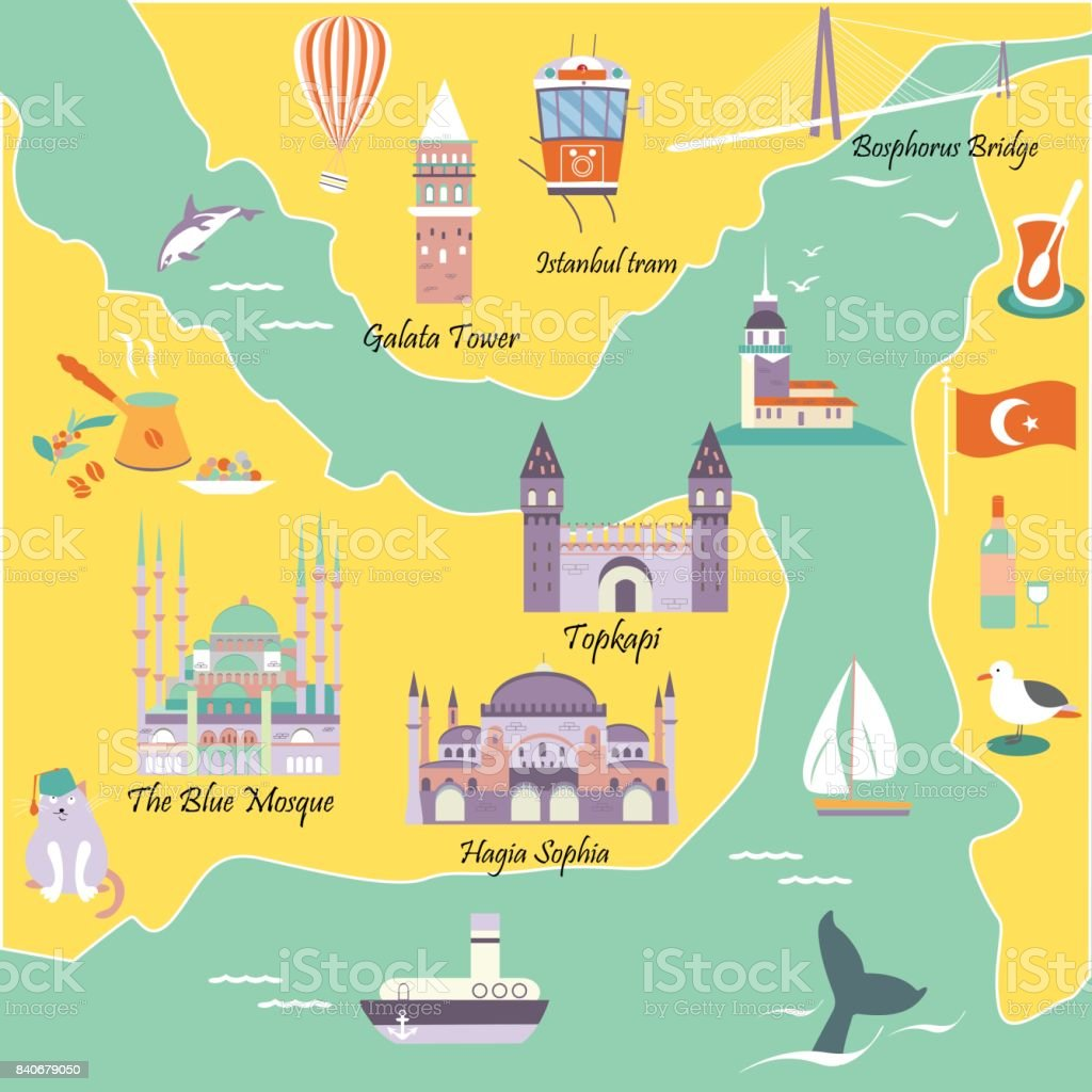 Tourist map with famous destinations and landmarks of Istanbul vector art illustration
