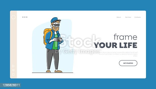 istock Tourist Photographer with Backpack and Photo Camera Landing Page Template. Creative Hobby, Backpacker Travel Activity 1285828311