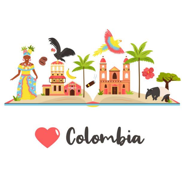 touristenplakat mit berühmtem reiseziel kolumbien - cartagena stock-grafiken, -clipart, -cartoons und -symbole