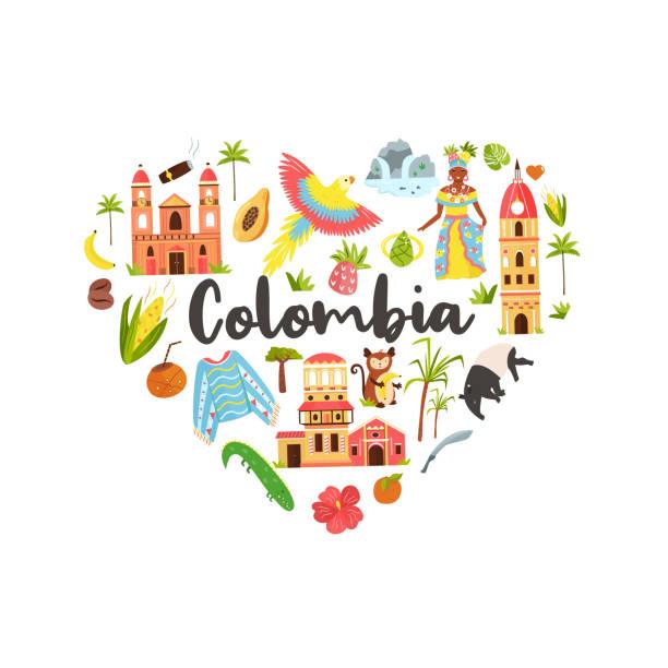 touristenplakat mit bekannten zielen und sehenswürdigkeiten kolumbiens. entdecken sie das kolumbien-konzept. für banner, reiseführer - cartagena stock-grafiken, -clipart, -cartoons und -symbole