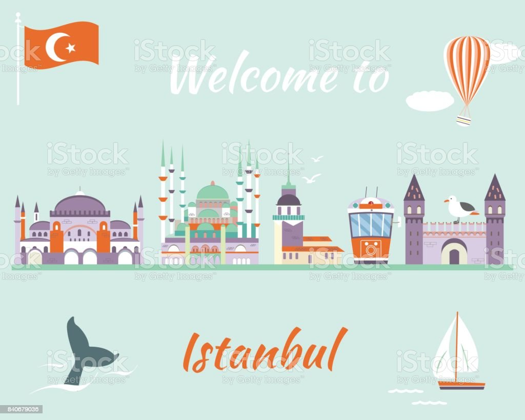 Tourist poster with famous destinations and landmarks of Istanbul vector art illustration
