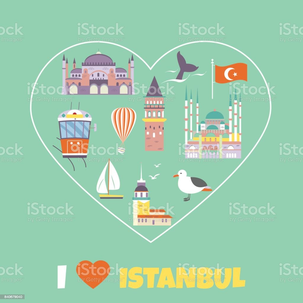 Tourist poster with famous destinations and landmarks of Istanbul. vector art illustration