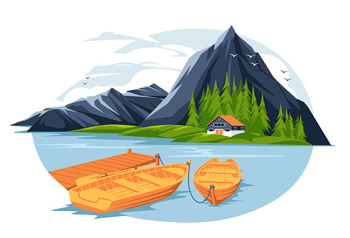 tourist rest house on the mountain lake island with boats and pirs. flat colorful landscape