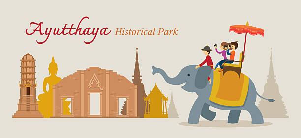 touristen reiten elefanten, ayutthaya, thailand - ayutthaya stock-grafiken, -clipart, -cartoons und -symbole