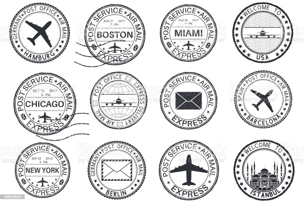 tourist stamps and postmarks collection of round ink stamps stock