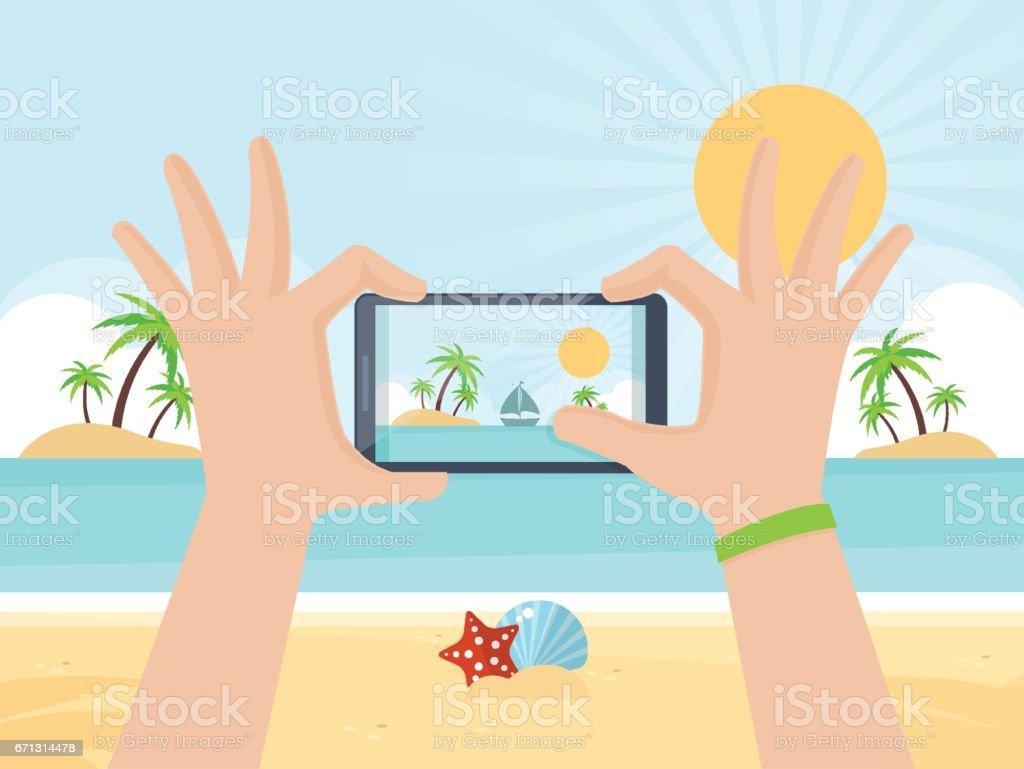 Tourist Taking Picture vector art illustration