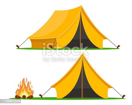 A set of tourist tent with different angles and a campfire on a white background.