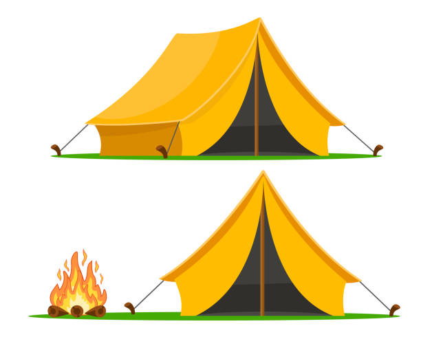 ilustrações, clipart, desenhos animados e ícones de barraca do turista com ângulos diferentes e uma fogueira em um fundo branco. - barraca