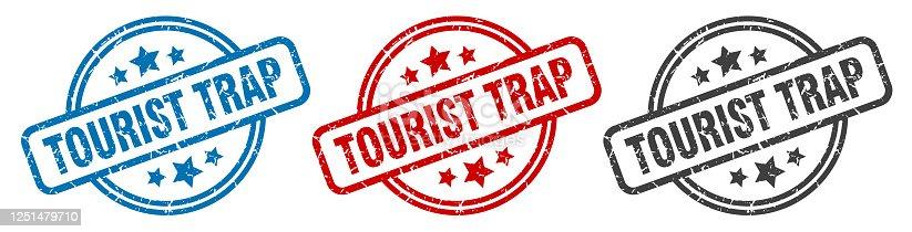 tourist trap stamp. tourist trap round isolated sign. tourist trap label set