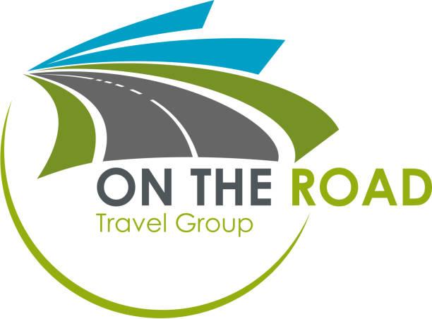 ilustraciones, imágenes clip art, dibujos animados e iconos de stock de icono de vector de turismo agencia de viajes carretera viaje - señalización vial