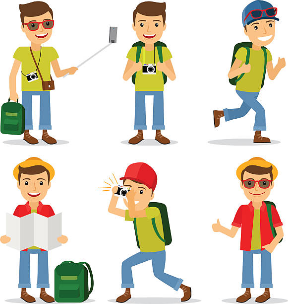 tourist travel character vector - tourist stock illustrations