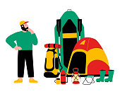 Tourist, travel preparation. Equipment for a hike. A puzzled man. Vector flat cartoon illustration.