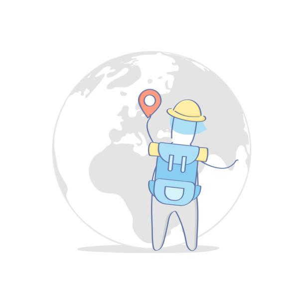 touristische reisen, welt abenteuer reisen, reise, reiseziel suchen - forschungsurlaub stock-grafiken, -clipart, -cartoons und -symbole