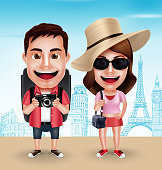 Tourist Traveler Couple Vector Characters Wearing Casual with Traveling Bags