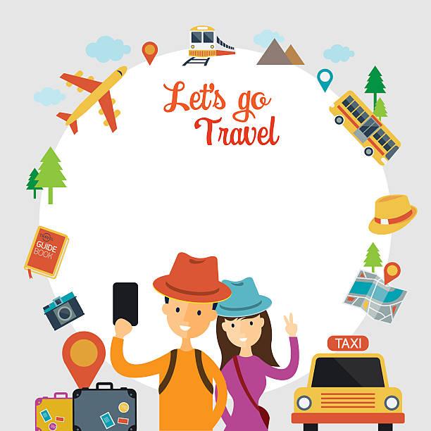 tourist und reisende, die selfie mit smartphone-frame - fotografieanleitungen stock-grafiken, -clipart, -cartoons und -symbole