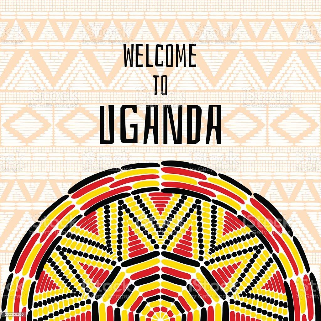 Tourist tribal Uganda vector design. African ethnic print vector art illustration