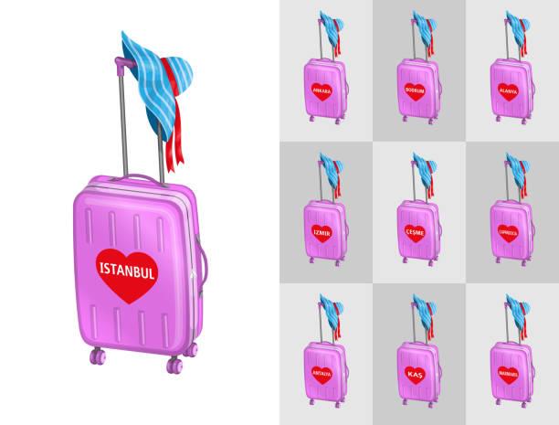 tourist valisiert für reisen in die türkei touristenstädte mit sommerhut - alanya stock-grafiken, -clipart, -cartoons und -symbole