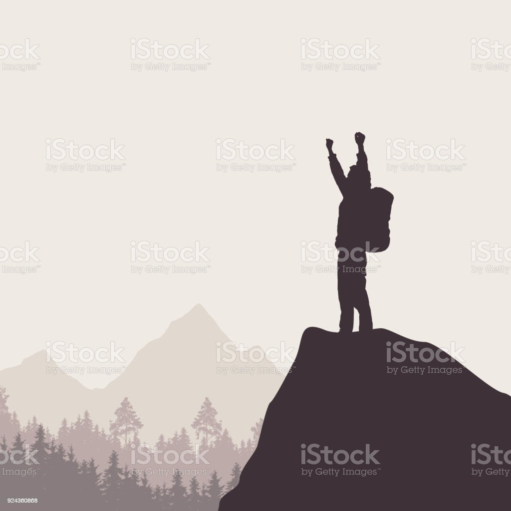 A tourist with a backpack standing on top of a rock rejoicing in success vector art illustration