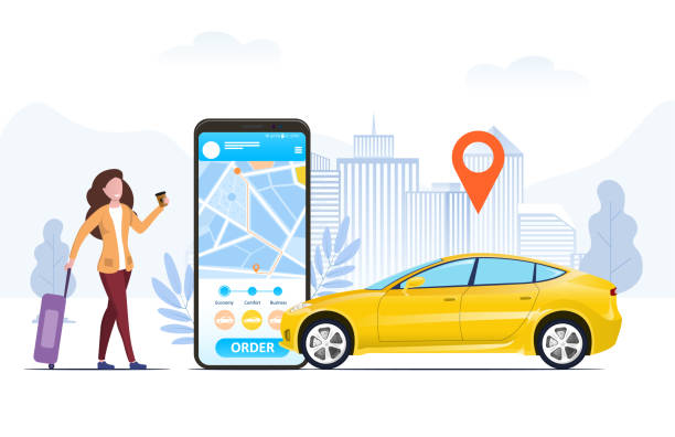 Tourist with a suitcase using a ride hailing app Tourist with a suitcase using a mobile ride hailing app to order a car from an urban location shown on the screen of the phone, in a conceptual vector illustration hailing a ride stock illustrations