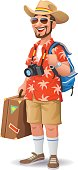 Vector illustration of a cheerful bearded man, wearing a hat, a Hawaiian Shirt and sunglasses going on vacation. He is carrying a backpack and a suitcase and is making thumbs up gesture.