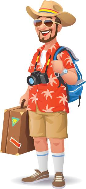 tourist with hat and sunglasses - tourist stock illustrations