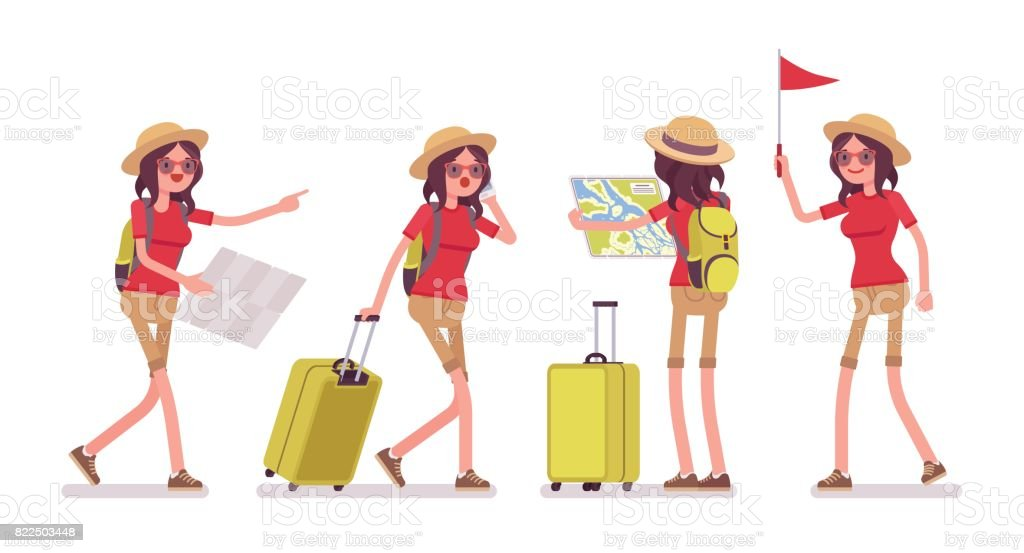 Tourist woman in trip situations vector art illustration