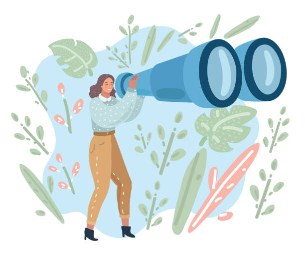 Tourist woman looking in big binoculars far ahead Happy tourist woman looking through big binoculars far ahead. Young lady is traveling with field glasses. Vector cartoon illustration in modern concept binoculars stock illustrations