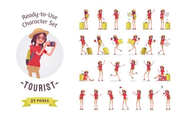 tourist-frau mit gepäck zeichen gesetzt, verschiedene posen und emotionen - laufführer stock-grafiken, -clipart, -cartoons und -symbole