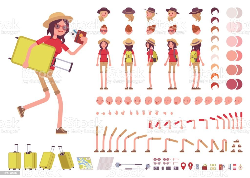 Tourist woman with luggage, wearing travel outfit. Character creation set vector art illustration