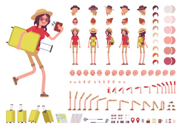 tourist woman with luggage, wearing travel outfit. character creation set - tourist stock illustrations