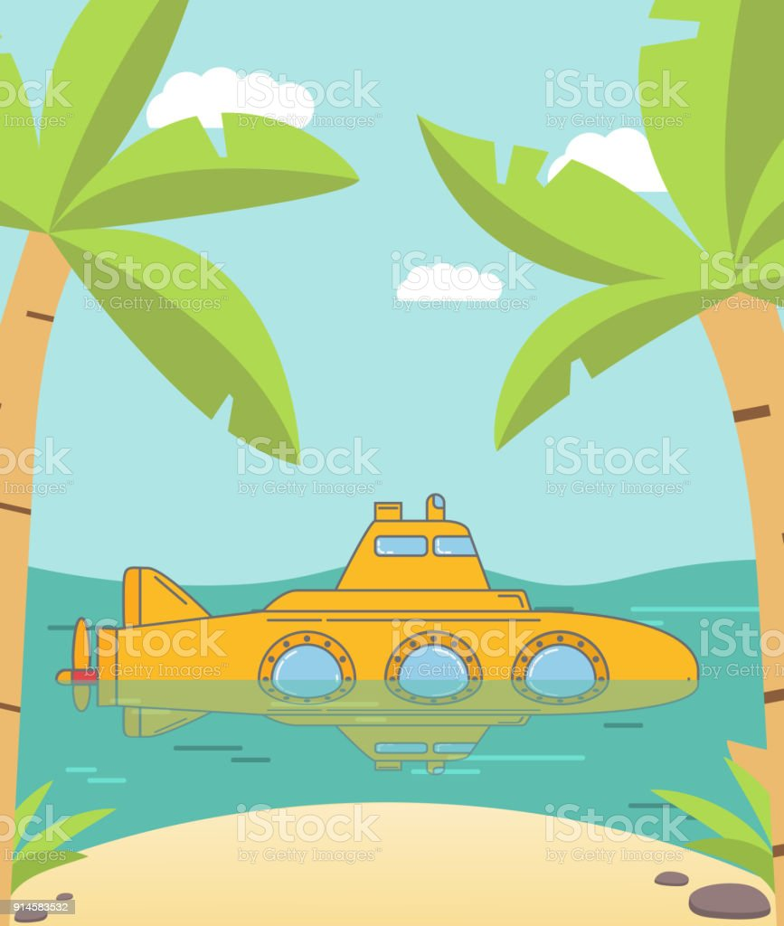 Tourist yellow submarine.Rest and an excursion to the underwater world of the tropical sea and with the beach sandy and palm trees. vector art illustration