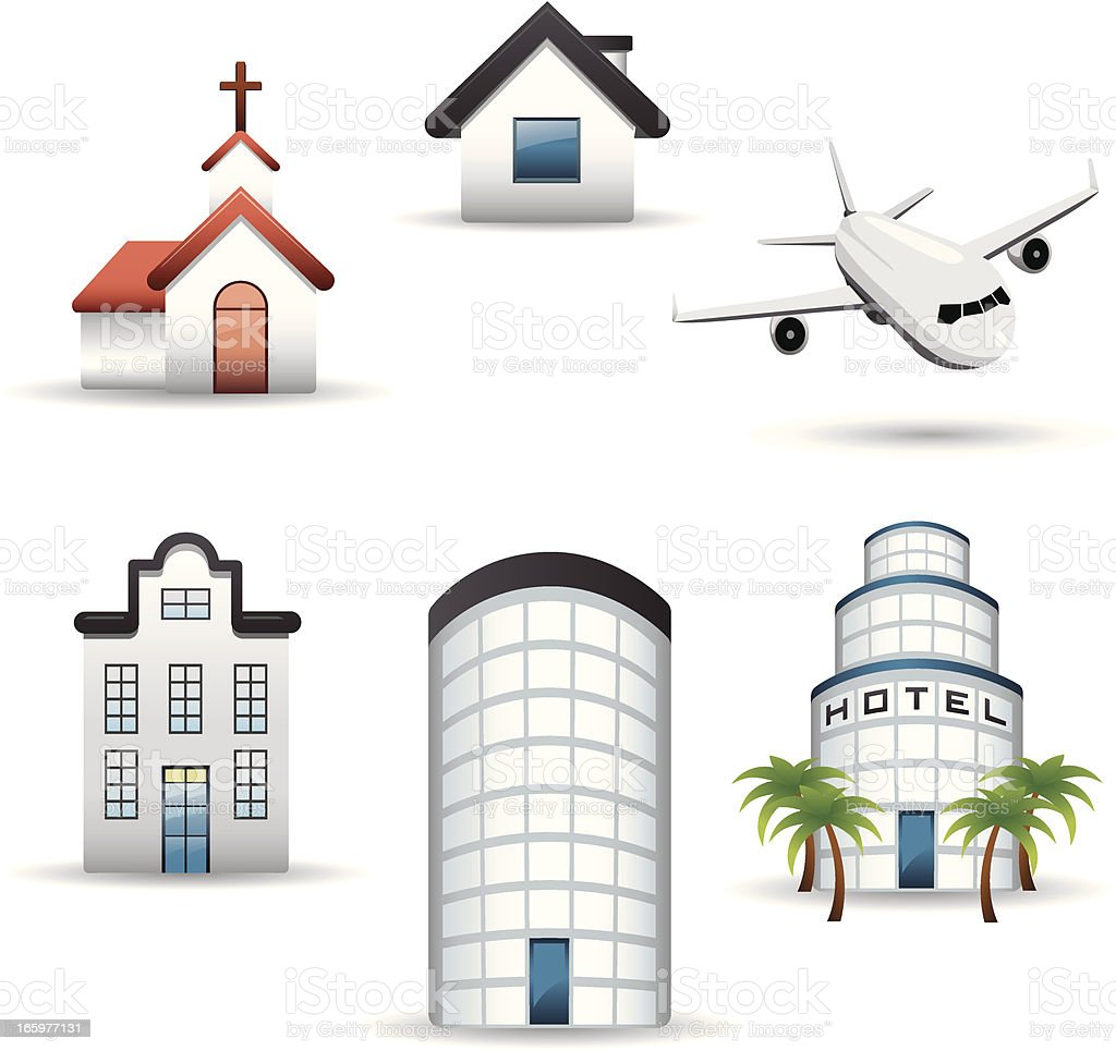 touristic buildings icon set vector art illustration