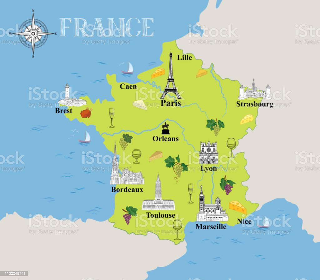 Map Of France French Riviera.Touristic Map Of France Travel Background With Marked French