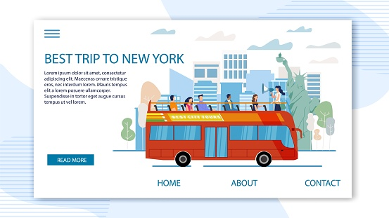 Touristic Tour to United States Vector Web Banner