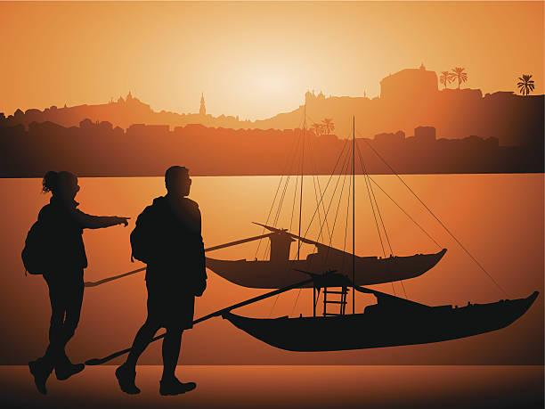 ilustrações de stock, clip art, desenhos animados e ícones de turistas com barcos no rio douro, porto portugal - douro