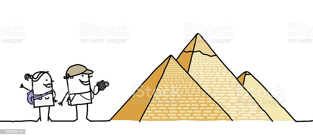 Tourists & Pyramids vector art illustration