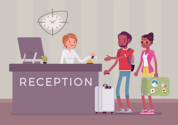 tourists at reception in a hotel - hotel reception stock illustrations