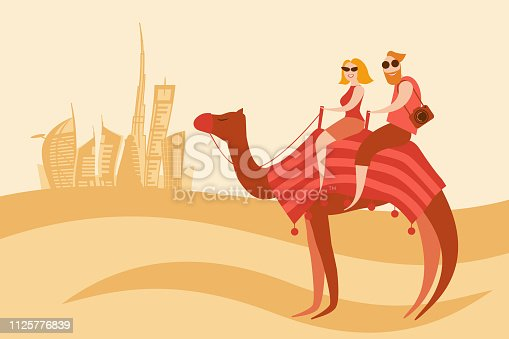 Tourists couple camel riders in the desert on the Dubai city background vector illustration. Man and woman sit on the camel back and smile.