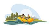 Tourists enjoy water rafting vector illustration